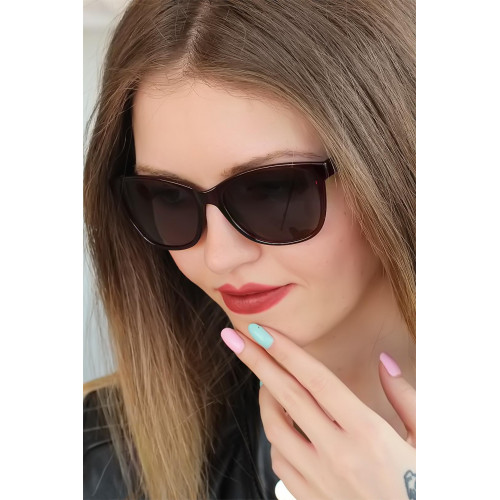 Women's Dark Claret Red Square Frame Sunglasses