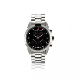 Alfajr Deluxe Watch with Stainless Steel bracelet  WA-10S - Black