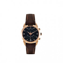 Alfajr Deluxe Watch with Leather bracelet WA-10B - Brown and Black