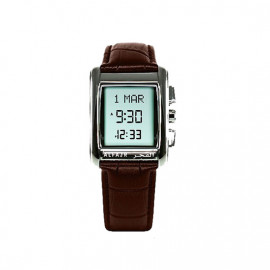 Alfajr Classic Watch with Leather strap/ Digital WS-06L - Brown