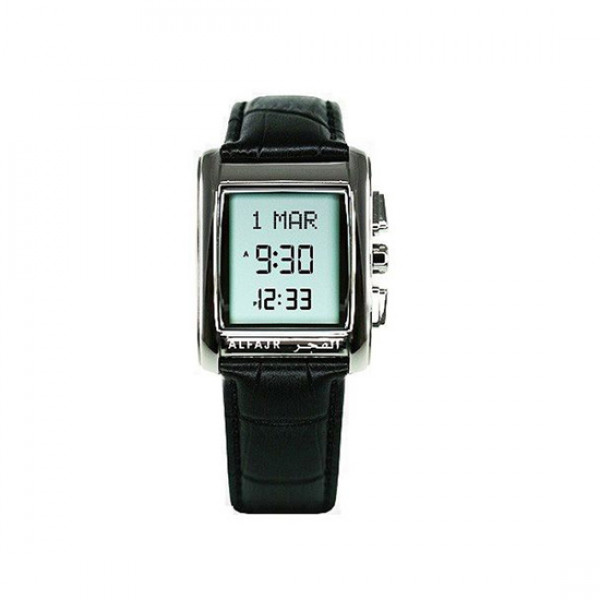 Alfajr Classic Watch with Leather strap/ Digital WS-06L - Black