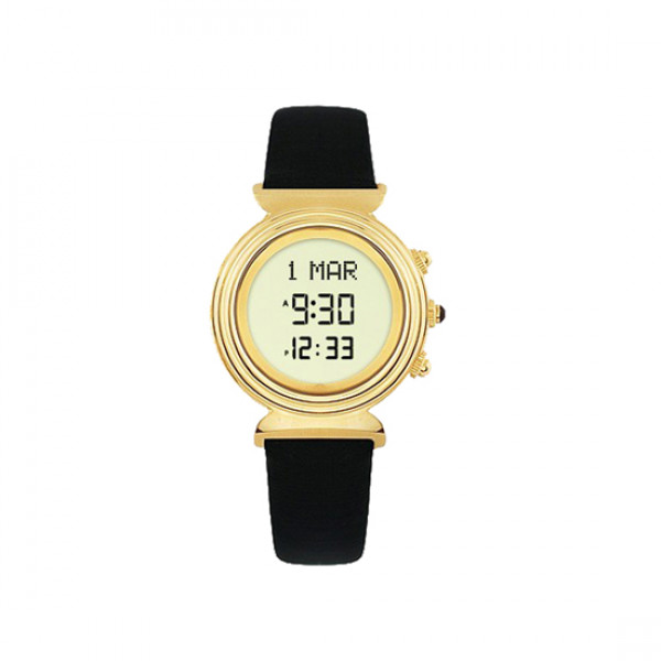 Alfajr Ladies Watch with Leather strap /Digital WF-14L - Gold