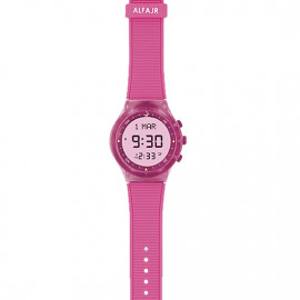 Alfajr Sport Watch with Rubber Strap and case WY-16 -Pink