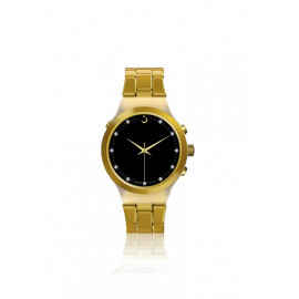 Alfajr Watch Aluminum Strap and Plastic case for unisex/Analog Digital WB-20 - Gold