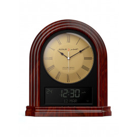Analog Digital Table Clock Brown with gold