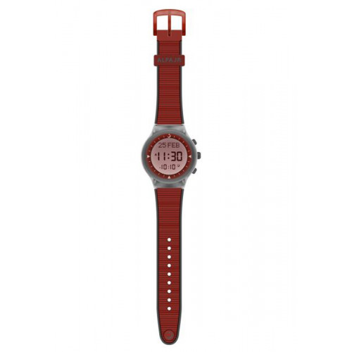 Alfajr Sport Watch with Rubber Strap and case WY-16 - Red with Grey lines