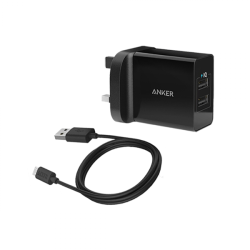 Anker powerport-  24W - 2 ports   powerline micro USB 3ft/0.9 - Black