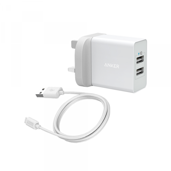 Anker powerport-  24W - 2 ports   powerline micro USB 3ft/0.9  - white