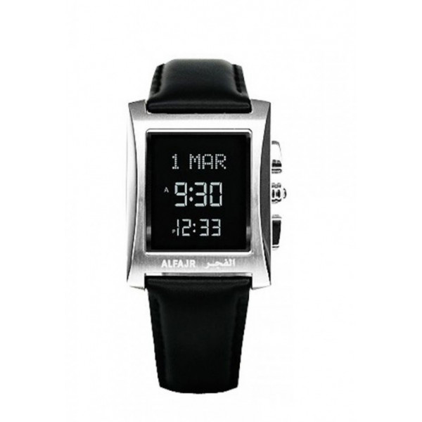Alfajr Classic Watch with Leather strap/ Digital WL-08L -silver