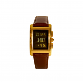 Alfajr Classic Watch with Leather strap/ Digital WL-08L - Gold and brown