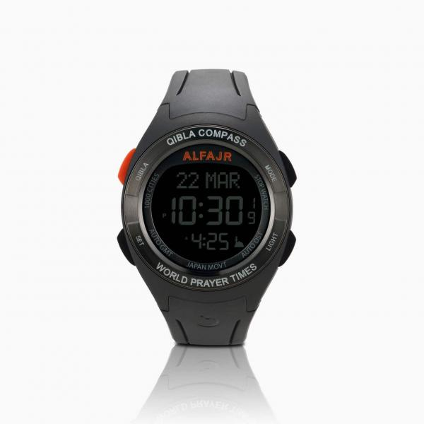 Alfajr Qibla Watch Compass with Rubber Strap and plastic case WQ-18 - Black