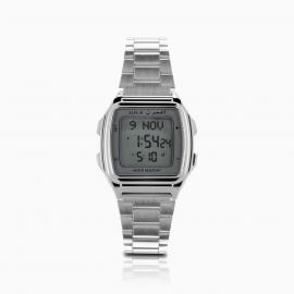 Alfajr Plastic Watch with Stainless Steel bracelet/ Digital WP-04 - Silver