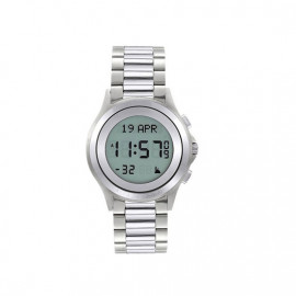 Alfajr Round Watch with Stainless Steel bracelet /Digital WR-02- Silver