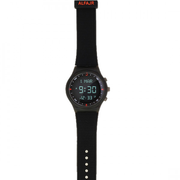 Alfajr Sport Watch with Rubber Strap and case WY-16 - Black