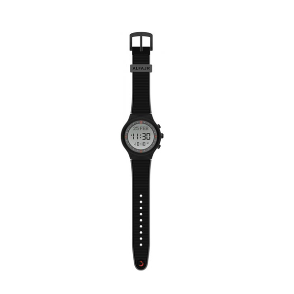 Alfajr Sport Watch with Rubber Strap and case WY-16 Black with grey