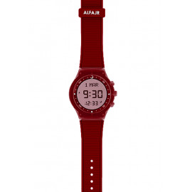 Alfajr Sport Watch with Rubber Strap and case WY-16 -Red