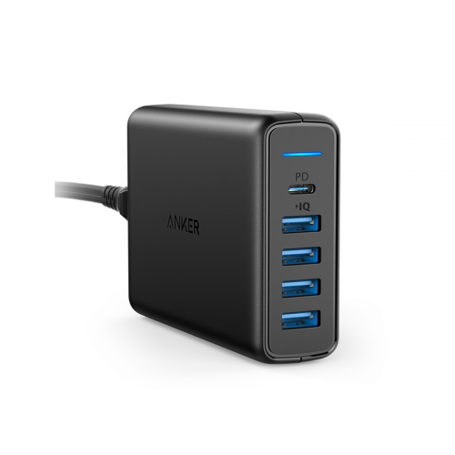 Anker PowerPort I - 5 port - 1 PD %25 26 4 PIQ - Black