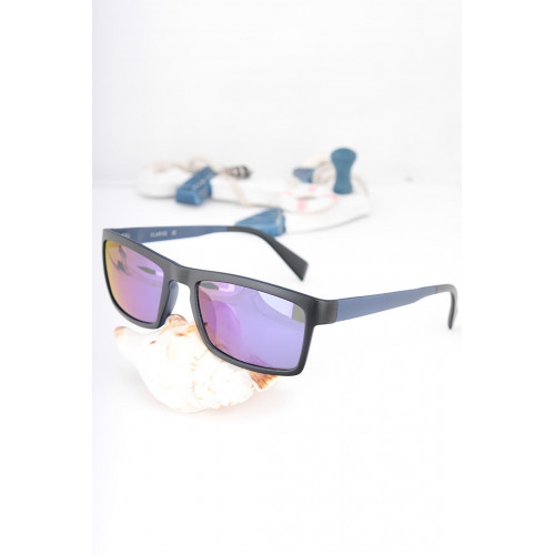 Black Metal Purple Frame Sunglasses