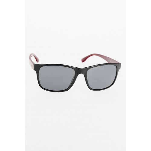 Men's Black Frame Claret Red Arms Sunglasses