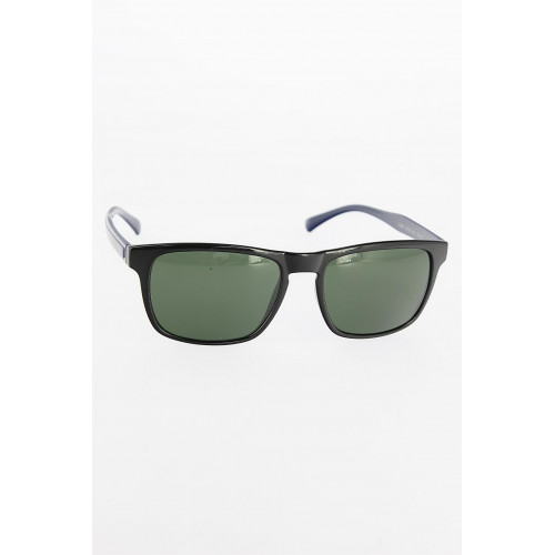 Men's Black Square Frame Green Sunglasses